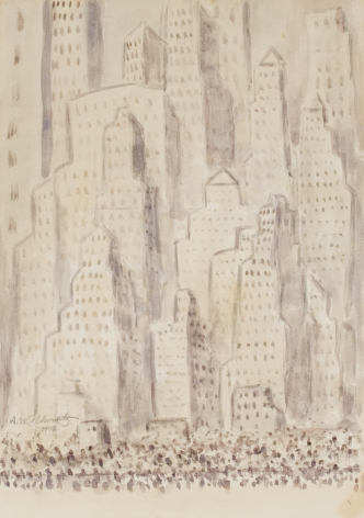 Abraham Walkowitz, Untitled (Cityscape), 1909, watercolor on paper, 13 x 9 inches