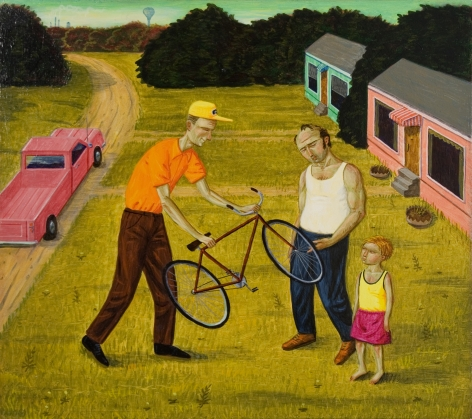 Walton Ford, The Good Boss, 1989, oil on board, 12 x 13 1/2 inches