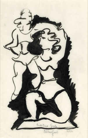 chaim gross, Circus Girls, 1932, ink on paper, 14 x 9 inches