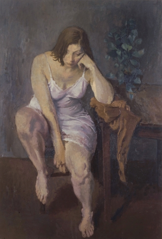 Raphael Soyer, Melancholia, 1972, oil on canvas, 51 1/8 x 34 1/8 inches