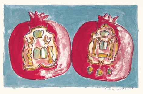 Mark Podwal, Pomegranates with Torah Shields (SOLD), 2008, acrylic, gouache and colored pencil on paper,  7 3/4 x 12 1/8 inches