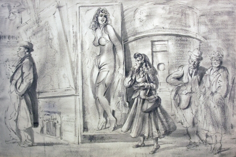 Reginald Marsh, Coney Island - Girl Lighting Cigarette with Three Figures, c. 1945 -1950, Chinese ink on paper, 26 x 39 inches