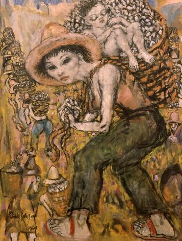 philip evergood, Double Burden, 1964, oil on canvas, 40 x 30 inches