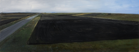 William Beckman, Montana Plowed Field #1, 2020, oil on panel, 7 x 18 1/4 inches