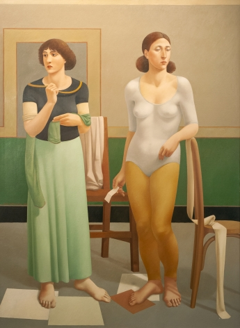 Two Standing Women, Greensleeves, 1982, oil on canvas, 60 x 44 inches