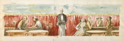 Reginald Marsh, Scene in Restaurant, c. 1940-50, watercolor on paper, 8 x 24 inches