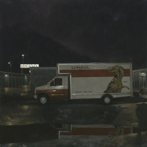 linden frederick, T. Rex, 2014, oil on linen, 34 x 34 inches