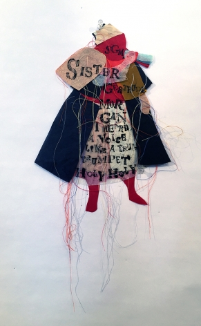 Lesley Dill, Sister Gertrude Morgan (SOLD), 2017, thread and ink on paper, 8 x 11 inches