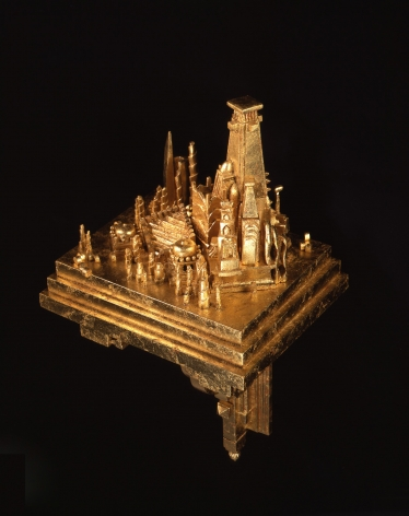 Holly Lane, The Well-Traveled Mind, 2006, gilded wood: basswood, composite gold leaf, 21 3/4 x 10 5/8 x 8 3/4 inches, Crate Dimensions: 39 x 20 x 23 inches, 69 lbs