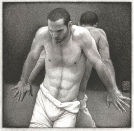 Michael Leonard, Back To Back, 1999, graphite pencil on paper, 8 x 8 1/4 inches