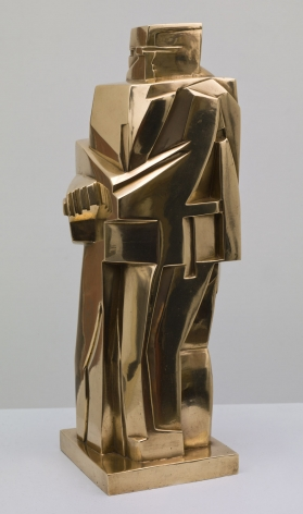 John Storrs, Gendarme (SOLD), 1919, cast later, polished bronze, 13 1/2 h x 4 5/8 w x 5 d inches, posthumous cast, less than 10 examples exist, made from original model