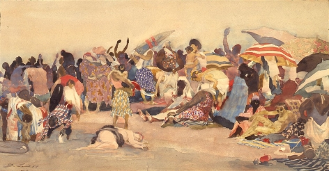 david levine, Coney Island Tapestry (NFS), nd, watercolor on paper, 12 x 23 inches