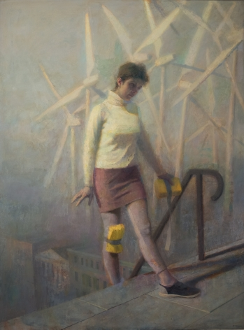 paul fenniak, Pilgrim on Cathedral Steps, 2018, oil on canvas, 72 x 54 inches