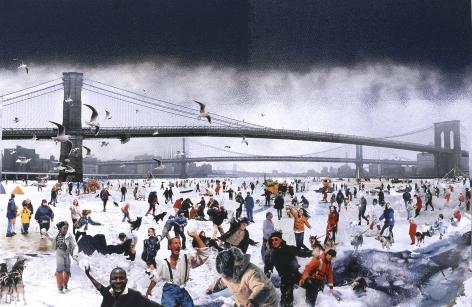 david mach, Snowball, 2005, collage, 48 x 69 inches
