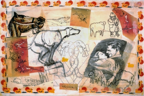 Red Grooms, Animal Instincts, 1992 collage & mixed media 30 x 46 inches