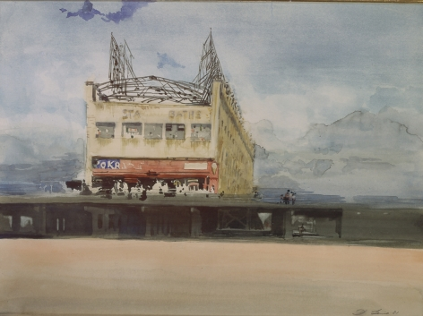 david levine, Stauch's Baths, 1981, watercolor on paper, 10 7/8 x 14 5/8 inches, Private collection, San Francisco, CA
