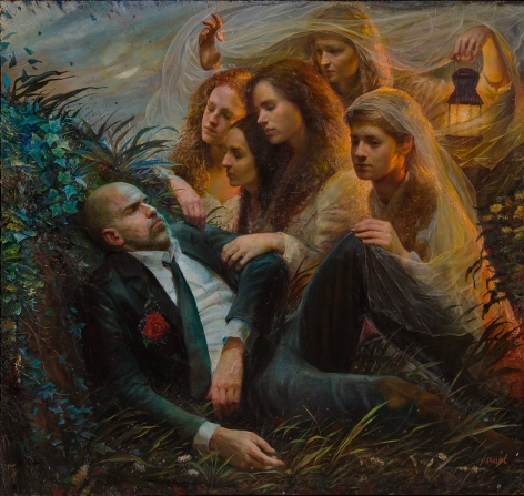 steven assael, Fallen Groom (SOLD), 2015, oil on canvas, 68 x 72 inches