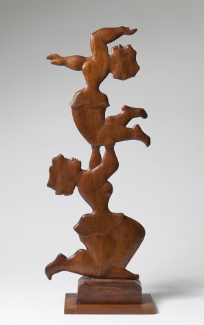 chaim gross, Acrobatic Performers, 1942, mahogany, 37 1/4 h x 15 3/8 w x 6 5/8 d inches