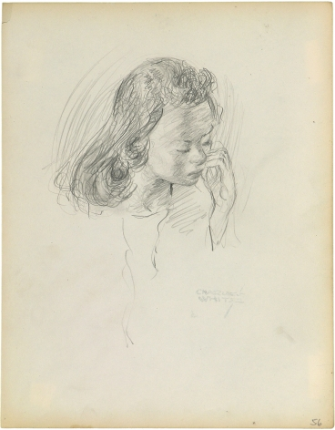 Charles White, Young Woman with Hands at Mouth, c. 1935 - 1938 pencil on paper 9 7/8 x 7 1/2 inches