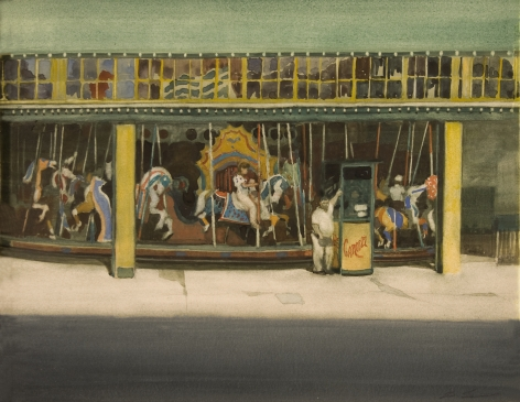 david levine, Carousel, 1989, watercolor on paper, 11 3/8 x 14 1/4 inches