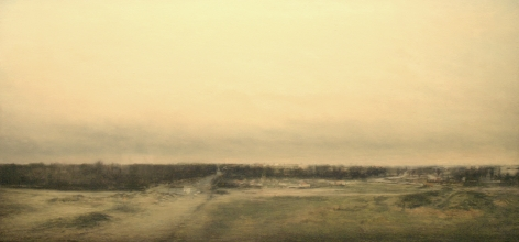 robert bauer, Landscape II, 1996, oil on panel, 13 x 27 inches