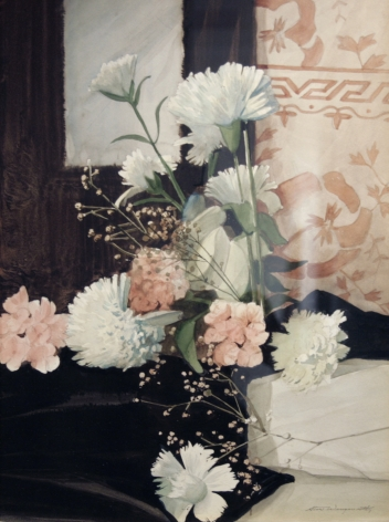 Stow Wengenroth, Pink and White Carnations, nd, watercolor, 16 x 11 1/2 inches