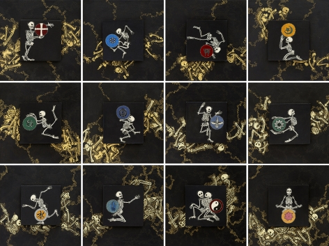 stephanie wilde, The Bones Are the Same, 2017, ink, acrylic and gold leaf on museum board, 6 x 6 inches each