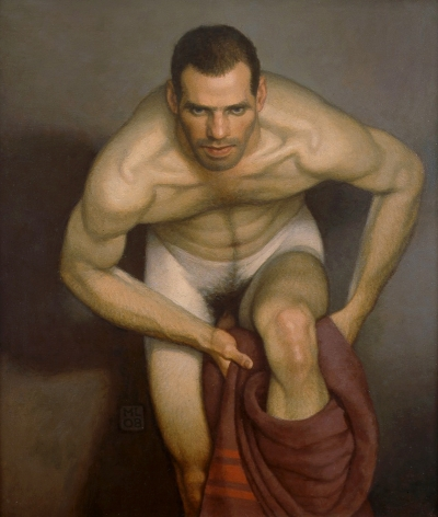 Michael Leonard, Bather with Intent (SOLD), 2008, alkyd-oil on masonite,  25 x 21 1/2 inches