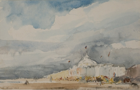 david levine, Beach Hotels at Scheveningen...Holland, 1960, watercolor on paper, 5 1/4 x 8 1/4 inches