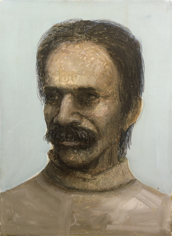 Gregory Gillespie, Self Portrait with Sly Look, 1984, colored pencils and oil on lithograph, 16 3/4 x 12 1/4 inches