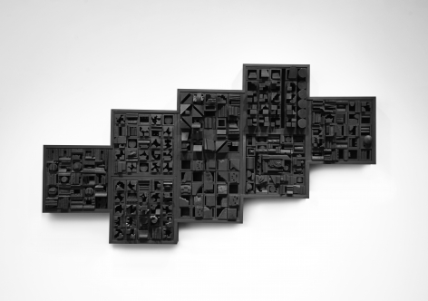 Louise Nevelson, Night Zag VI (SOLD), 1966, painted wood construction, 32 h x 59 w x 9 3/4 d inches