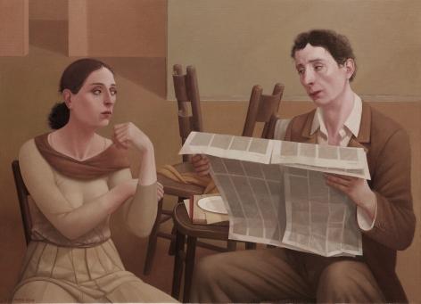 alan feltus, ll Giornale, 2009, oil on canvas, 31 1/2 x 43 1/4 inches