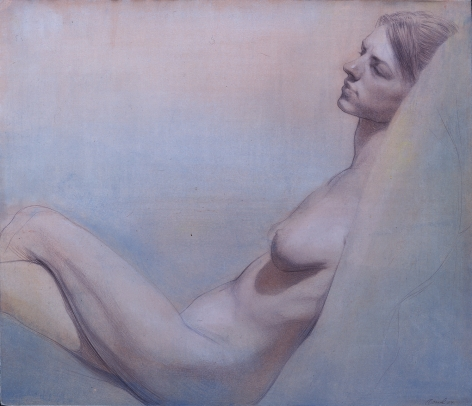 Steven Assael Erica Reclining, 2004, acrylic wash over chalk and ink on paper, 11 3/8 x 13 1/4 inches