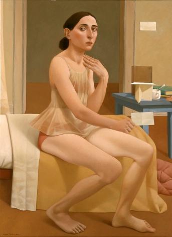 Alan Feltus, Guest Bed, 2001, oil on linen, 43 1/4 x 31 1/4 inches