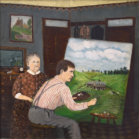 John Kane, John Kane and His Wife (SOLD), c. 1928, oil on canvas, 23 3/4 x 23 3/4 inches