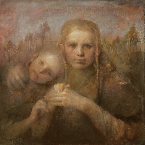 odd nerdrum, Mother and Daughter (SOLD), oil on canvas, 22 x 19 5/8 inches