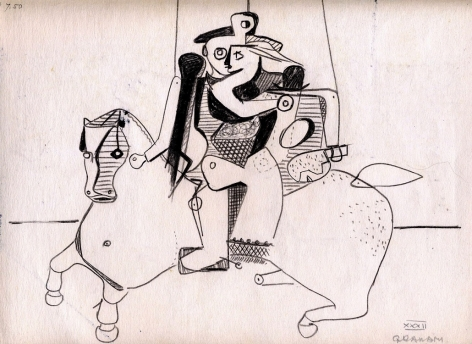 john graham, Warrior on Horseback (verso), 1932, double-sided drawing, black ink and gouache on paper (recto), 9 x 12 inches