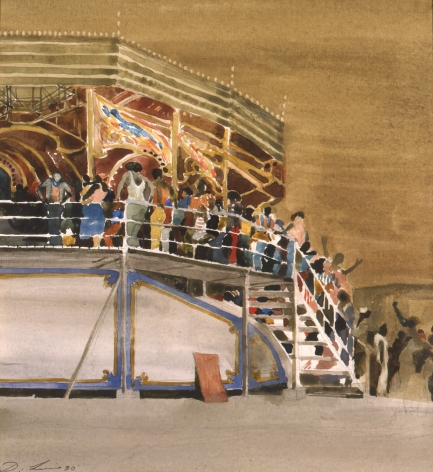 david levine, Awaiting the Ride, Coney Island, 1980 watercolor on paper 10 3/4 x 10 inches, Private collection, Chicago, IL