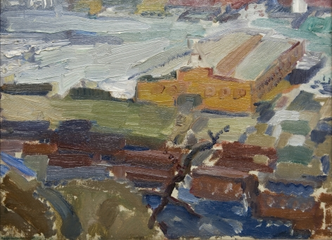 john marin, Weehawken, New Jersey, c. 1916, oil on artist canvasboard, 9 x 12 inches