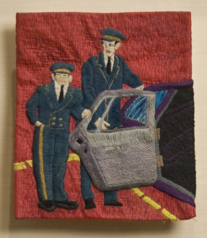 Darrel Morris, Untitled (Limo Driver), 1996, embroidery and applique, 7 x 6 inches
