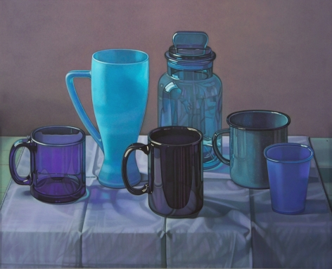 jane lund, Blue Cups, 2007, chalk pastel on paper, 21 1/4 x 23 1/4 inches