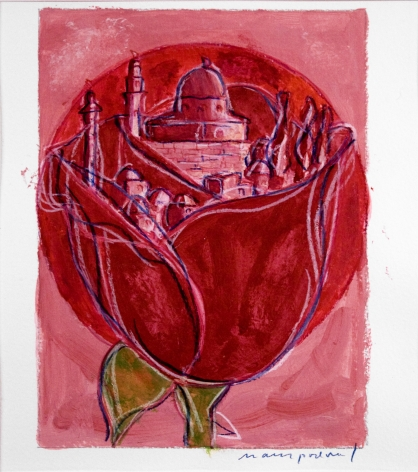 mark podwal, The Song of Songs (recited during the morning service on the intermediate Sabbath of Passover), 2005, acrylic, gouache, and colored pencil on paper, 8 x 6 inches