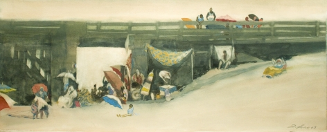 David Levine, Pier Life, 2003, watercolor on paper, 10 x 25 inches