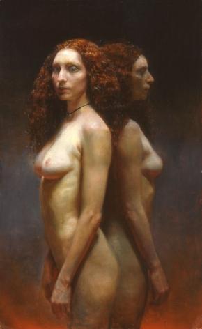 Steven Assael, Cassandra Twice, 2004, oil on board, 27 1/2 x 17 inches
