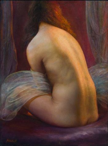 Steven Assael, Seated Bride Holding Veil, 2015, oil on board, 23 3/4 x 17 3/4 inches
