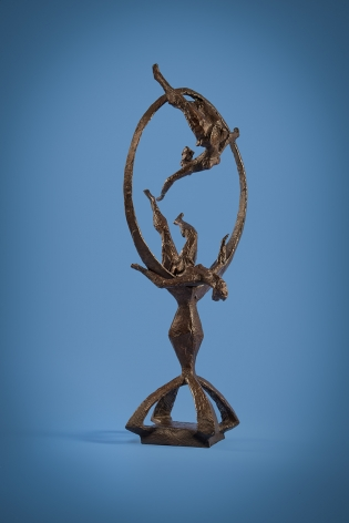 Chaim Gross, Acrobats Through the Ring, 1964, bronze, 36 x 14 x 11 1/2 inches, Edition of 6