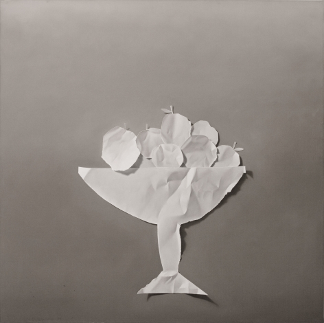 Yrjö Edelmann, Paper Apples, 1979, oil on canvas, 39 1/2 x 39 1/2 inches