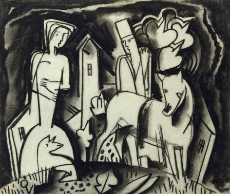 Bela Kádár, Untitled (man behind horse, with woman), n.d., charcoal on paper, 6 7/8 x 8 1/8 inches