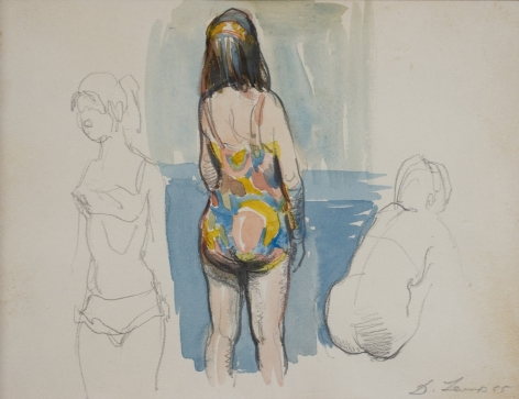 david levine, Untitled (Study for ''Bathers''), 1965, watercolor on paper, 5 3/4 x 8 3/8 inches