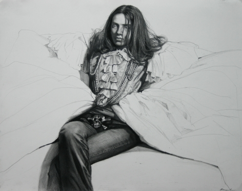 Steven Assael, Girl with Ruffled Shirt (SOLD), 2008, crayon and graphite on paper, 12 5/8 x 15 3/4 inches